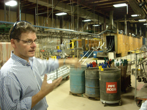 Ian Proud of Playworld Systems leads the team on a factory tour